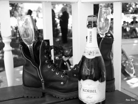 motorcycle boots and champagne